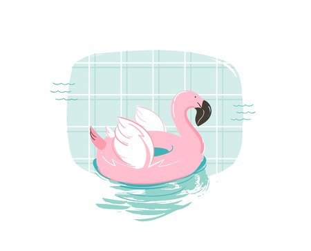 Hand drawn vector abstract cartoon summer time fun illustration with pink flamingo buoy float circle isolated on blue swimming pool background.