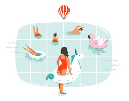 Hand drawn vector abstract cartoon summer time fun illustration with swimming people in swimming pool with hot air balloons isolated on white background.