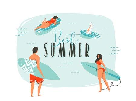 손으로 그린 벡터 추상 만화 여름 시간 행복 한 서퍼와 함께 재미있는 그림 긴 보드와 현대 타이 포 그래피 견적 가족