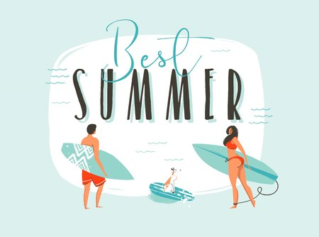 Hand drawn vector abstract cartoon summer time fun illustration with happy surfers family with long boards and modern typography quote Best Summer isolated on white background
