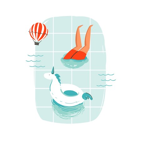 手の描かれたベクター抽象漫画夏の時間楽しい漫画の熱気球は、白い背景で隔離のスイミング プールでスイミング人々 の図。