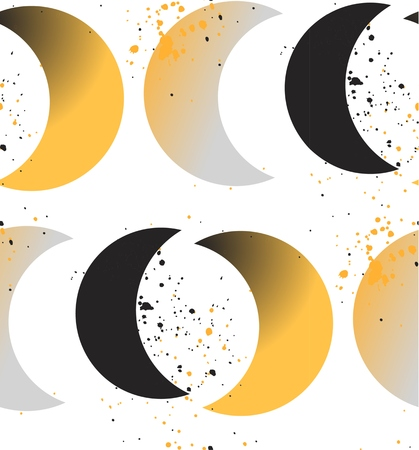 Moon phases. Crescent growth. Abstract seamless vector pattern. 1950s style, geometric motif, hand drawn dotted elements, wavy background. Golden, blue, black.