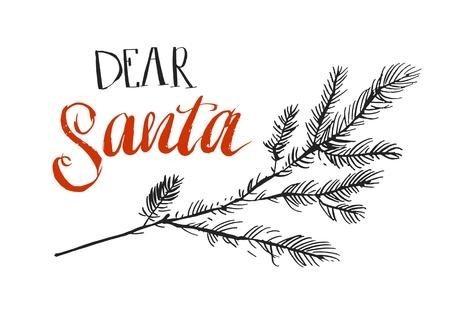 친애하는 산타, 나는 설명 할 수있다. 크리스마스 티셔츠, 인사말 카드 및 벽 예술에 대 한 재미있는 말. 빨간 산타 클로스 모자 모양에 활판 인쇄술 스톡 콘텐츠