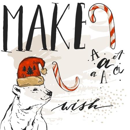 Bergeben Sie gezogene Vektorzusammenfassung strukturierte Grußkartenschablone der frohen Weihnachten mit Eisbären in rotem Sankt-Hut, in den Zuckerstangen und in der modernen Beschriftungsphase Machen Sie einen Wunsch lokalisiert auf weißem Hintergrund Standard-Bild - 83307763