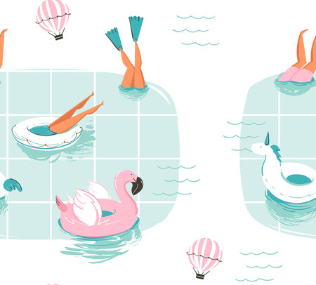Hand drawn vector abstract cartoon summer time fun cartoon seamless pattern with swimming people in swimming pool with hot air balloons isolated on white background.