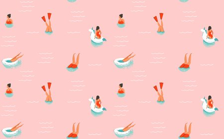 Hand drawn vector abstract cartoon summer time fun illustration seamless pattern with swimming people isolated on pink background.