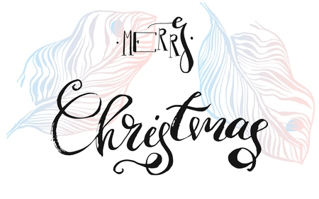 Hand drawn vector abstract textured graphic Merry Christmas text card template design with handwritten modern ink lettering phase Merry Christmas. 向量圖像