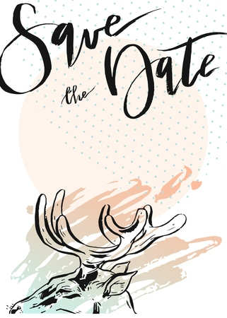 Hand drawn vector abstract modern hipster minimalistic rustic save the date card template with deers composition in pastel colors. Illustration