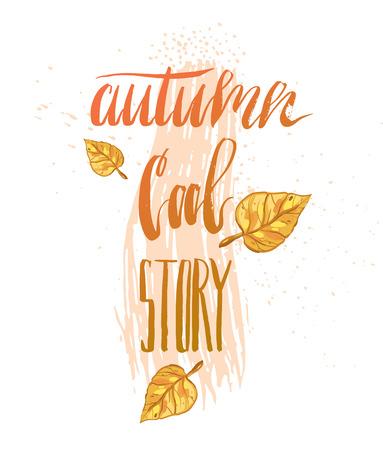 Hand drawn vector abstract autumn illustration Çizim