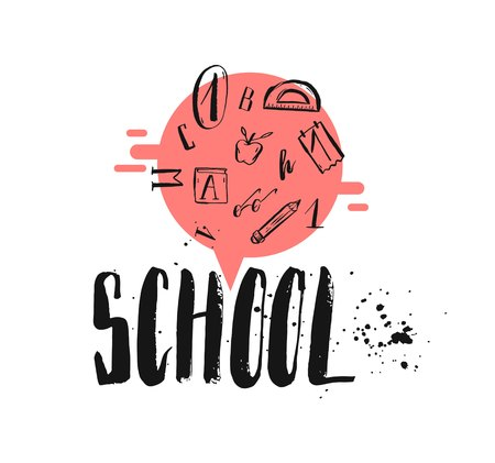 school class: Hand drawn vector abstract card template with handwritten school phase and school supplies isolated on white background. Illustration