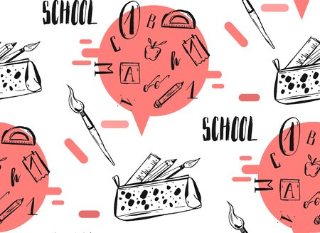 Hand drawn vector abstract back to school seamless pattern with handwritten school phase and pencil case with school supplies isolated on white background. 向量圖像