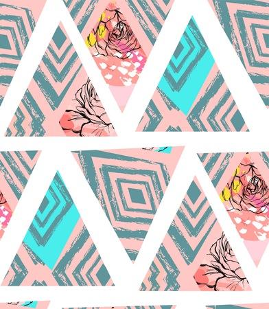 Main dessinée vecteur abstraite collage texturé sans soudure texturé abstraite à la main avec motif zèbre, textures organiques, des triangles et des fleurs Banque d'images - 84149886
