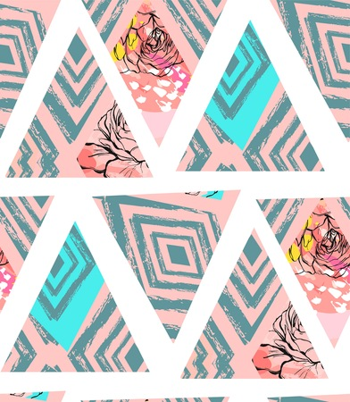 Hand drawn vector abstract freehand textured seamless pattern collage with zebra motif,organic textures,triangles and flowers isolated on white background