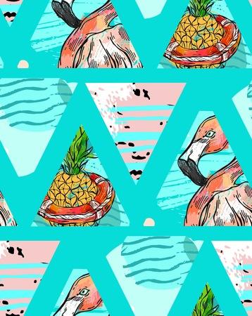 手作りの熱帯の葉、パイナップルとの隔離された三角形の幾何学的な抽象的な背景のピンクのフラミンゴとエキゾチックなシームレス パターン。ベ