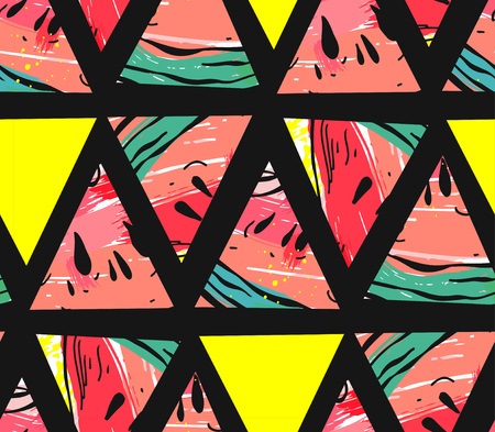 Hand drawn vector abstract collage seamless pattern with watermelon motif and triangle hipster shapes isolated on black background