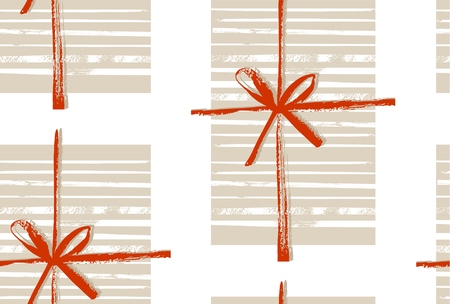 Abstract Merry Christmas decoration seamless pattern with gift boxes and bow isolated on white background.Design for greeting,decoration,wrapping paper,fabric,journaling,decor