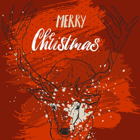 Christmas Greeting Card. Merry Christmas lettering with Christmas tree, vector illustration. Çizim