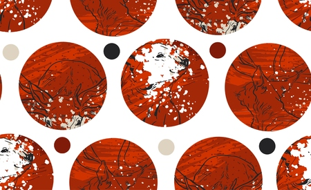 Abstract red and gold colored twenty four various seamless patterns set. Count down till christmas. Advent calendar. Vector