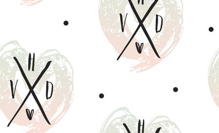 Vectorhart naadloos patroon. St Valentine rode roze achtergrond van harten hand getrokken kunstpictogrammen. Ontwerp voor Valentijnsdag groet liefde kaart. Vectorschets van viltstifttekening