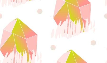 Hand gemaakt vector abstract eenvoudig naadloos patroon met roze veelhoekige kristal geïsoleerd op een witte achtergrond. Unieke eenvoudige hipster concept. Ontwerp voor mode weefsel, dag van de Valentijnskaart, bruiloft, teken, zakelijke