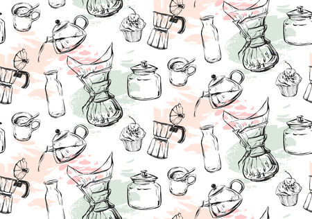 Coffee icons or emblem in seamless pattern, for coffee shop. I love coffee. Coffee seamless. Coffee set. Coffee pattern. Tea set. Tea seamless. I love tea. Cappuccino pattern. Ilustração