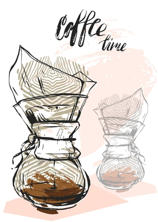 Quote. Coffee. Hand drawn typography poster. For greeting cards, Valentine day, wedding, posters, prints or home decorations.Vector illustration Ilustração