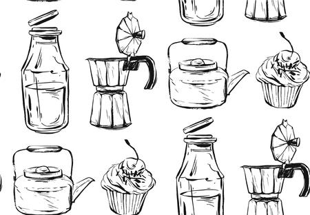 맛있는 음식 원활한 패턴입니다. 손으로 그려진 된 벡터입니다. 배경, 패브릭, 부엌 및 카페 물건에 좋습니다. 일러스트