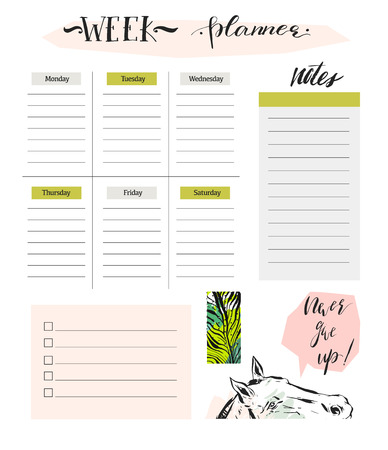 Hand made vector abstract simple textured scandinavian and tribal Weekly planner template with graphic isolated on white background. Çizim