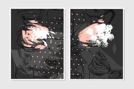 Hand getrokken vector abstracte geweven voedsel kaart ontwerpsjabloon voor recept, opmerking, banner, poster, decoratie in pastel kleuren op zwarte achtergrond. Stock Illustratie