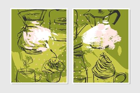 Hand getrokken vector abstracte geweven voedsel kaart ontwerpsjabloon voor recept, opmerking, banner, poster, decoratie in pastel kleuren op groene achtergrond Stock Illustratie