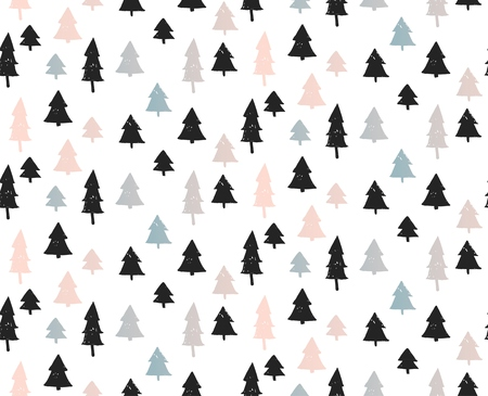 Seamless christmas background with cute christmas trees and falling snow