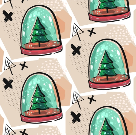 Colorful Christmas poster with cute cartoon snow globe with fir-tree on green stand. Bright festive illustration and text Merry Christmas on a light-pink backdrop.