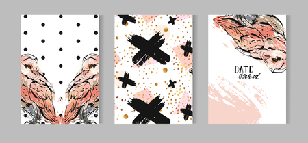 owl illustration: Hand drawn vector abstract textured cards template set collection with owl illustration,crosses and polka dot texture inpastel colors isolated on white background