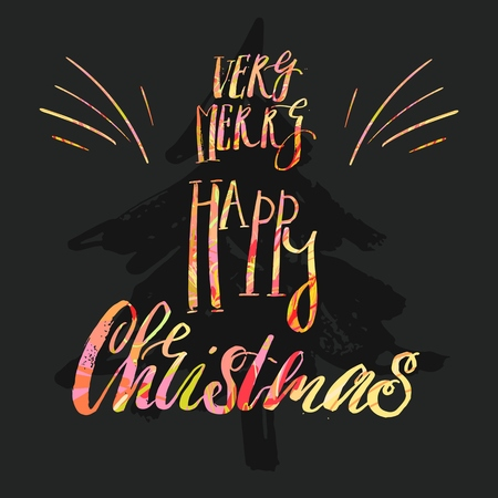 Have A Very Merry Holly Jolly Christmas, Typographical Background On Blackboard With Chalk