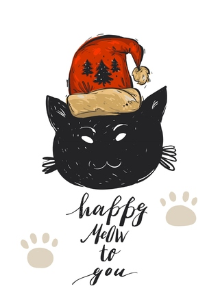 Hand drawn vector abstract Merry Christmas greeting card template with black cat character in red Santa Claus hat and modern calligraphy phase Happy Meow to you.Christmas poster,postcard,decoration.