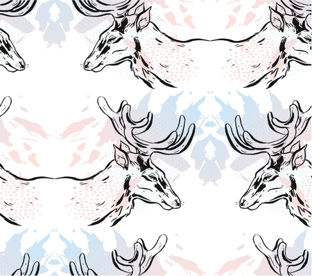 Hand drawn vector abstract mirror Christmas seamless pattern with graphic reindeers in pastel colors isolated on white background.Winter holidays pattern concept.Christmas fashion pattern