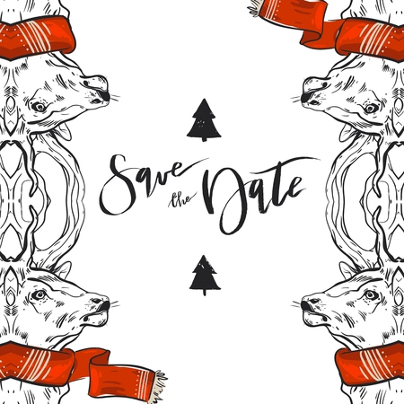 Hand drawn graphic Merry Christmas save the date greeting decoration cards with deers in red scarf isolated on white .Christmas journaling design.Save the date Christmas concept Illustration