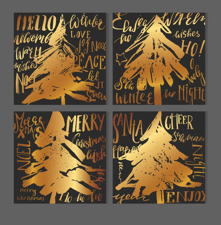 ブラック、ホワイト、ゴールドのクリスマス グリーティング カード テンプレートのセット。伝統的なクリスマスの要素 - ギフト ボックス、クリス  イラスト・ベクター素材