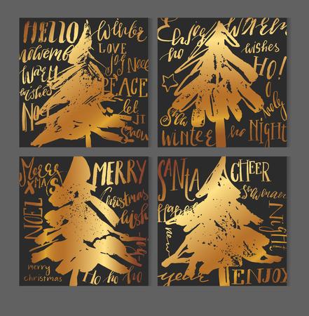크리스마스 인사말 카드 서식 파일 집합을 검정, 흰색 및 골드. 현대 추상 브러쉬 선 및 두들 스 전통적인 크리스마스 요소 - 선물 상자, 크리스마스 트 일러스트