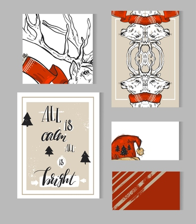 Hand drawn abstract Merry Christmas greeting cards template collection set with deer,Santa red hat and modern calligraphy phase All is calm all is bright.Unusual Christmas Journaling note page