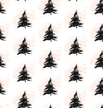 Vector hand-painted ink illustration with brush strokes. New Year, Christmas trees. Abstract background.