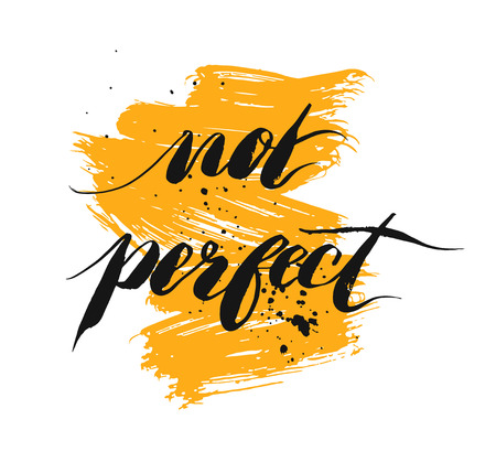 Not perfect - hand drawn lettering phrase, Иллюстрация