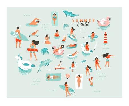 Hand getrokken vector abstracte cartoon zomer tijd plezier grote zwemmende mensen groep collectie illustraties instellen geïsoleerd op blauwe oceaan golven.
