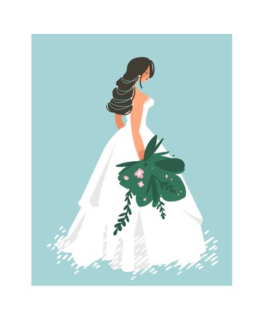 Hand drawn vector abstract wedding bridal in white dress illustration isolated on blue background
