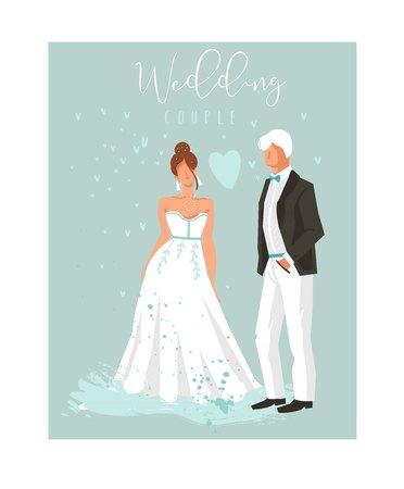 Hand gezeichneter Vektorzusammenfassungskarikatur-Hochzeitspaarillustrations-Sammlungselementsatz lokalisiert auf blauem Hintergrund. Standard-Bild - 84899737