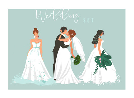Hand drawn vector abstract cartoon wedding hugging,kissing couple and bridal girls illustrations collection elements set isolated on blue background