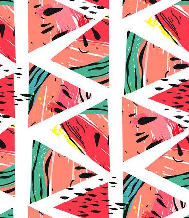 Bergeben Sie gezogenes nahtloses Muster der Vektorzusammenfassungs-Collage mit den Wassermelonenmotiv- und -dreieckhippie-Formen, die auf weißem Hintergrund lokalisiert werden. Standard-Bild - 84955644