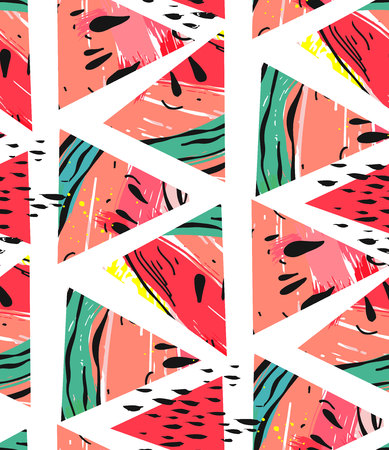 Hand drawn vector abstract collage seamless pattern with watermelon motif and triangle hipster shapes isolated on white background.