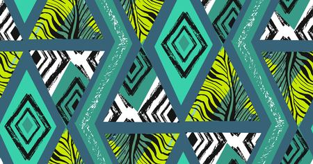 Hand drawn vector abstract freehand textured seamless tropical pattern collage with zebra motif,organic textures,triangles isolated on green background