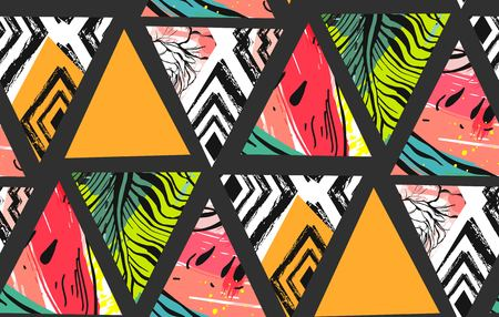 Hand drawn vector abstract unusual summer time decoration collage seamless pattern with watermelon,aztec and tropical palm leaves motif isolated. Zdjęcie Seryjne - 84955647